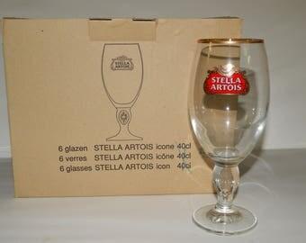 NEW  Stella Artois 33 cl Glasses Set of 6 Belgium Beer Chalice NIB