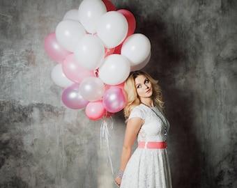 Pink and White Balloon Bouquet - Birthday Balloon Bouquet