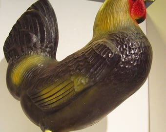 Vintage Blow Mold Standing Chicken Farm Chic Country Rooster