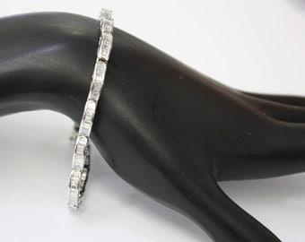 Italian diamod bracelet ( wrist ) 14 k white gold , ladies , 15 gr , 3.6 ct.