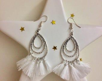 Black or white tassel earrings