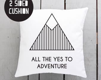 mountain pillow, mountains cushion, adventure pillow, adventure cushions
