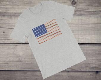 USA Dachshund dog funny hipster men's women's tee US flag Short-Sleeve Unisex T-Shirt tshirt tee