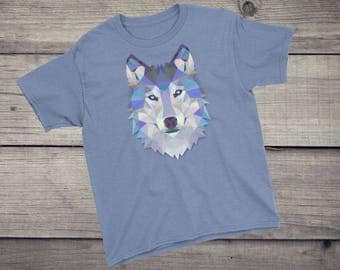 Polygonal wolf, triangular wolf, triangle wolf, animal art, Wolf T-Shirt, geometric design, Toddler gift, wolf shirt, Boys, Girls, Children,