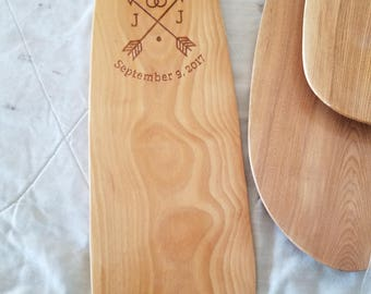 Engraved custom canoe paddle