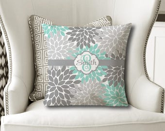 Monogram Flower Throw PILLOW, Floral Aqua Gray, Flower Pillow Cover or With Insert, Flower Matching Bedding, Choose Your Colors