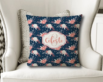 MONOGRAM Floral PILLOW, Flower Navy Coral Nursery, Baby Girl Shower, Daughter Gift, Christmas Sister Gift, Pillow Cover or with Insert