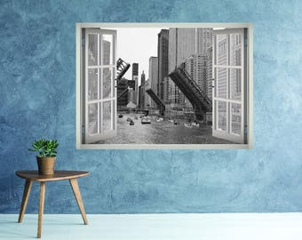 The Chicago River Wall Decal   Chicago City Wall Mural Wallpaper   Chicago  Skyline 3D Window Part 88
