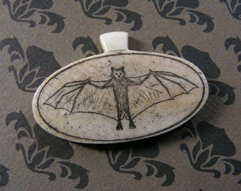 The Dark Knight, scrimshawed, bone pendant
