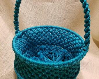 Handmade blue macrame basket by TwistedandKnottyUS