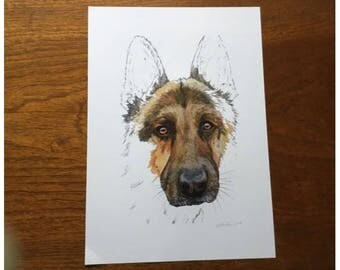 German Shepherd (Alsatian) Dog Portrait Painting ~ Print of Original Watercolour Art ~ Pet Portraits