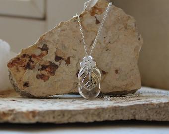 Quartz pendant with leaf and flower-silver Pendant