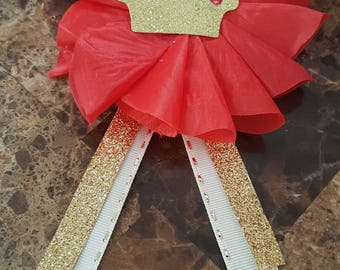 Red and gold royal prince baby shower pins