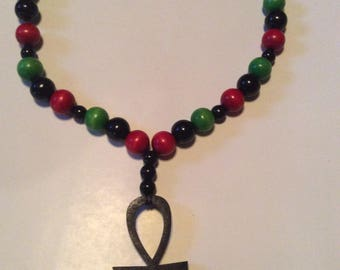 5 inch Ankh pendant and RBG beaded necklace