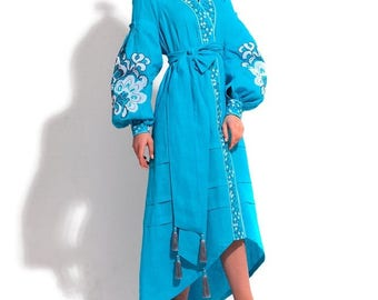 Bohemian Clothing Kaftan Abaya Dress Vyshyvanka Woman Boho Clothes Ukrainian Embroidery Embroidered Dresses Vishivanka Open in front