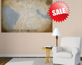 Bellingham Washington, Map Print, Bellingham Large Map, WA Poster, Bellingham Wall Art gift, Custom map, Extra Large Wall Art, Gift Items