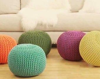 knit pouf etsy. Black Bedroom Furniture Sets. Home Design Ideas