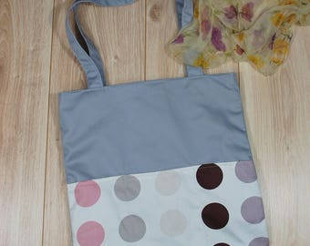 Polka Dot Weekend Bag with Outer Pockets, Canvas Tote, Market Bag, Summer Bag, Workout Bag, Beach Storage, Dance Bag, Shoulder, Eco Friendly