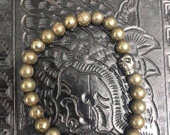 Pyrite skull bracelet