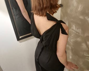 Sexy Black cotton years 50 dress with buttons on back size XS
