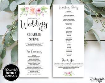 Wedding Program Editable Template, Bohemian Floral Program Printable, Wedding Editable Template Printable, PDF Instant Download, W03