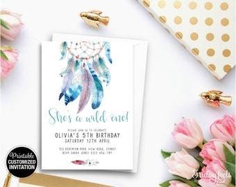 Dreamcatcher Boho Customised Birthday Invitation, Watercolor Dreamcatcher Invite, Personalized Kids Birthday Party Digital Download