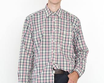 VINTAGE Colourful Checked NORTHWEST Long Sleeve Button Downs Retro Shirt