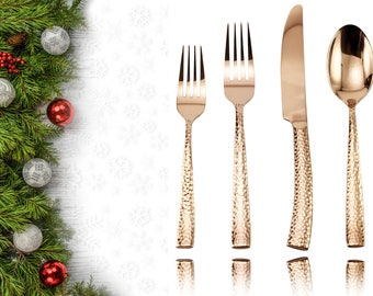 Hammered Rose Gold Stainless Steel Flatware Set - Service for 4 - 20 pieces set - 80% Hand Made
