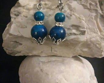 Earrings, Blue glass and Crystal Bead Earrings, Blue earrings, Gift for Her, Gift under 20, Handmade earrings, Blue