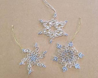 Snowflake Ornament (white & blue quilled paper)