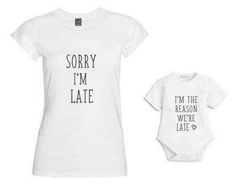 Im the reason we're late Matching Mum & Baby Tshirt/Baby Vest/Outfit/Christmas Gift/Mother Daughter Matching/Mommy and me matching/Baby Gift