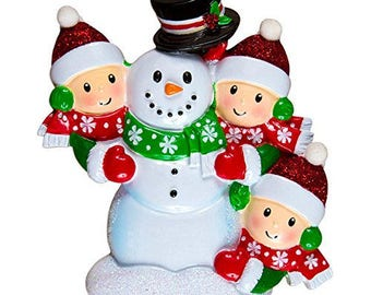 Family Building Snowman Of 3 Personalized Christmas Tree Ornament