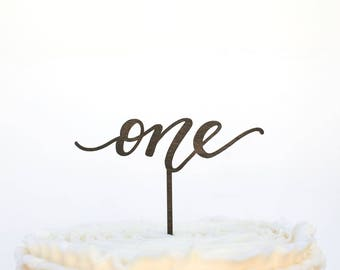 One Cake Topper, First Birthday Cake Topper, Birthday Cake Topper, Wood Cake Topper