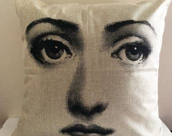 Fornasetti Black and White Face Print Throw Pillow Cover. OUTDOOR or INDOOR Pillow Covers