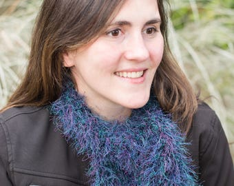 Purple and teal novelty scarf