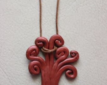 Tree of life - metal clay pendant and necklace