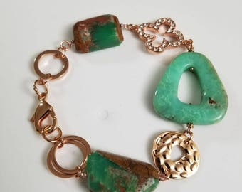 Natural Chrysoprase Bracelet, Girlfriend Gift