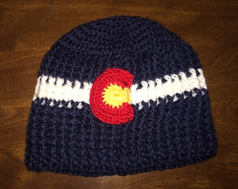 Crocheted Colorado Flag Beanie
