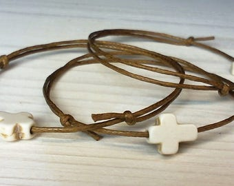 50Pieces Baptism Favors Bracelets. Handmade Martirika. Baptism. Christening. First communion. Natural Howlite Gemstone Cross