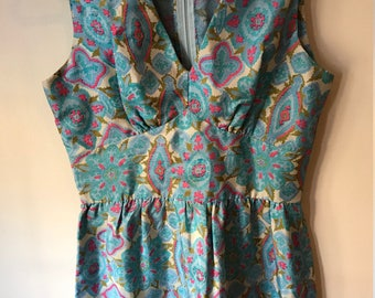 Hand-made Baby Blue Shin-Length Vintage 60s Dress (Lined)