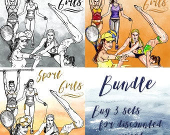 Sport Girls Clip Art | Hand Drawn Graphics | Illlustration, Digital Cliparts | Girl Clip Art | Watercolour Clip Art | Bundle | Fitness