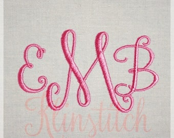 Stylish Monogram Embroidery Fonts 3 Sizes Three Letters Monogram Fonts BX Fonts Embroidery Designs PES Alphabets - Instant Download