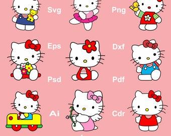 Hello Kitty Clipart, Hello Kitty Vector File, Hello Kitty Svg, Eps, Dxf, Png, Hello Kitty Invitations, Hello Kitty Design, Hello Kitty Print