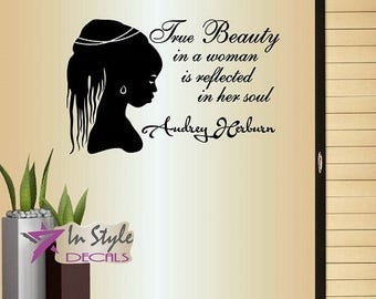 Wall Vinyl Decal Home Decor Art Sticker True Beauty in a Woman Reflected in Her Soul African Girl Beauty Hair Salon Mural Unique Design 903