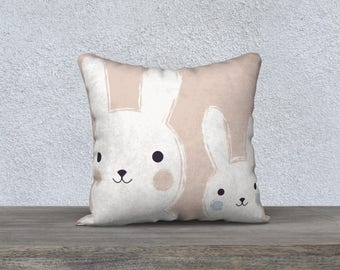 "DECORATIVE pillow ""Mommy and me"" cover cushion for children, decoration, rabbit illustration, pink, nursery girl, gift"
