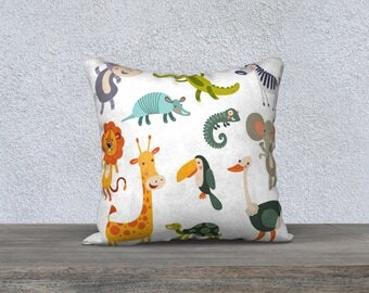 """JUNGLE"" pillow decorative pillow cover for children, decoration, animals, colors, bedroom, pillowcase doreiller, forest animals"
