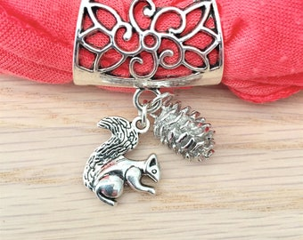 Jewelry, bails for scarves charms animal squirrel, pinecone, nature