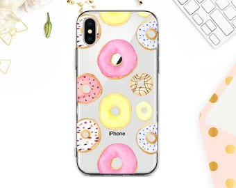 Phone 8 Case Clear iPhone 8 Plus Case iPhone X Case iPhone 7 Plus case Clear iPhone 7 Case iPhone 6 Case Samsung S8 Plus Case Donuts BD1042