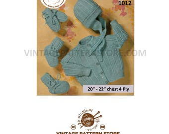 "Babies round neck, texture & rib, raglan cardigan, bonnet, bootess and mittens set - 20"" - 22"" chest - Vintage PDF Knitting Pattern 1012"