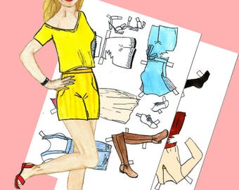 Paper doll Paper doll girl Printable paper dolls Julia #004 Digital paper doll Digital download